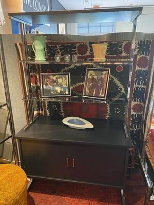 Mid Century Modern 1970's Hi Style Black & Chrome Cabinet Shelf