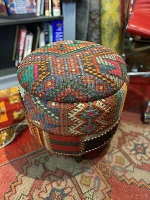Vintage Handmade Turkish Kilim Ottoman
