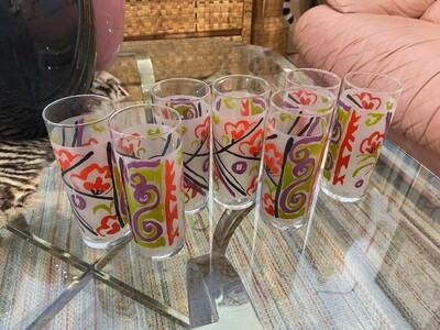 Vintage 1980's Set of Frosted Highball Glasses