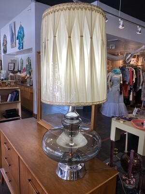 Mid Century Smoked Glass with 2 Flame Lightbulbs in Base with Original Shade