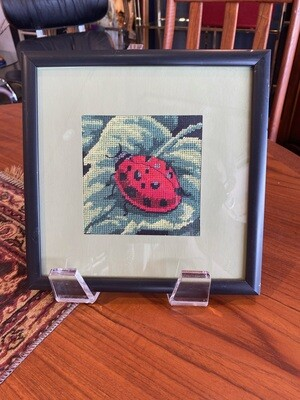 Vintage Framed Needlepoint Lady Bug