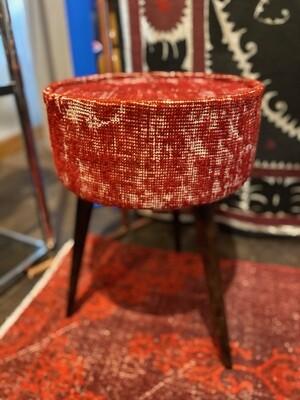 Handmade Upholstered Side Table with Vintage Carpet