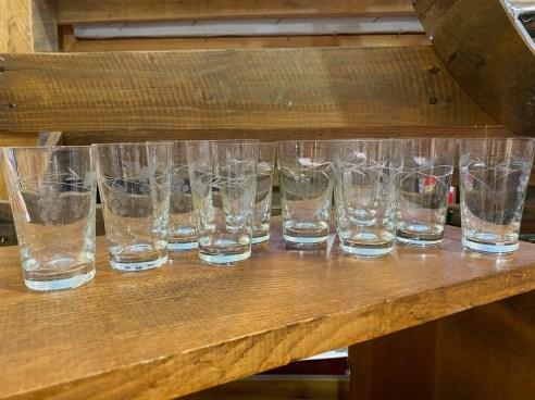 Vintage Cordial or Shot Etched Glasses