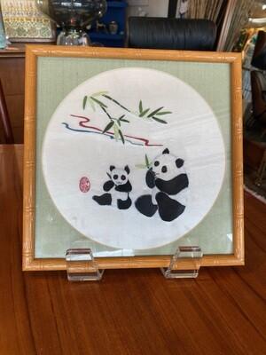 Vintage Framed Silk Embroidered Pandas Eating