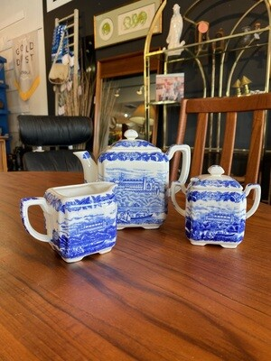 Vintage Blue White Ceramic Tea Pot, Sugar & Creamer