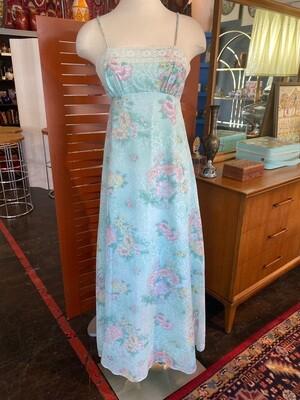 Vintage Floral & Lace Lined Maxi