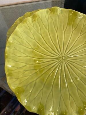 Vintage Chartreuse Lotus Brick by Metlox Dinner Plates