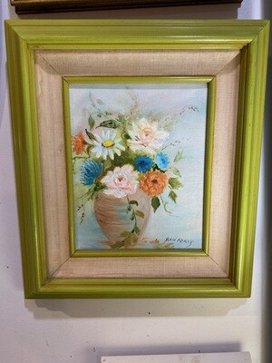 Mid Century Modern Signed Floral Painting in Green Frame