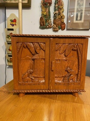 Vintage 1950's Hand Carved Asian 4 Drawer Jewelry Box