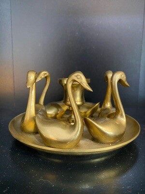 Vintage Brass Swans Candle Stick Holder