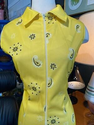Vintage Paisley Zip Down Dress