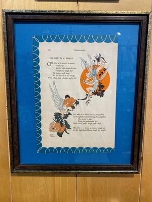 Vintage Fairy Framed Old Book Page