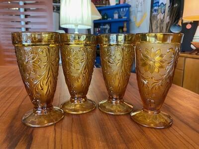 Mid Century Modern Amber Goblet Glasses