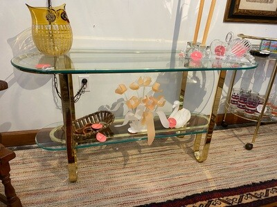 Vintage 1980's Brass Glass Curvy Console Glass Top Table