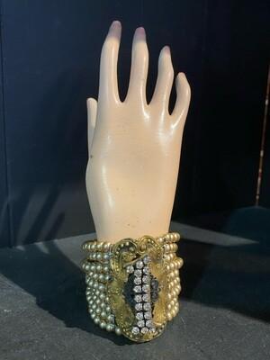 Handmade Repurposed Bracelet with Rhinetones
