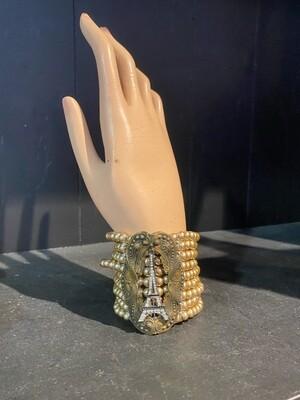Handmade Repurposed Pearl & Eiffel Tower Bracelet