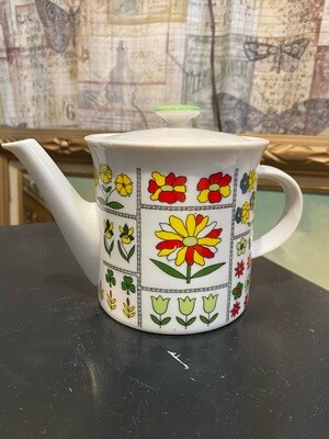 Mid Century Modern Floral Teapot