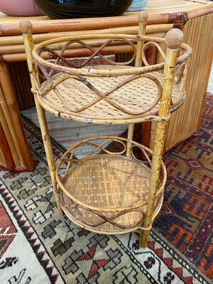 Vintage Burnt Bamboo & Rattan Plant Stand