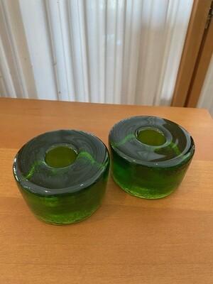 Mid Century Modern Blenko Emerald Glass Candlestick Holders