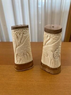 Vintage Carved Bone Salt & Pepper Set