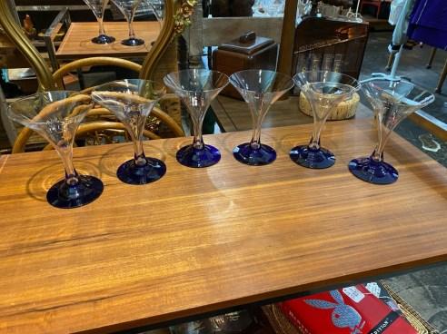 Vintage Set of Cobalt Blue Martini Glasses