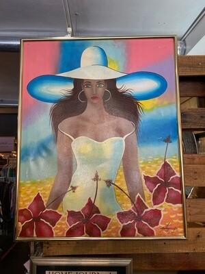Vintage Framed Original Signed Girl with Big Hat Painting