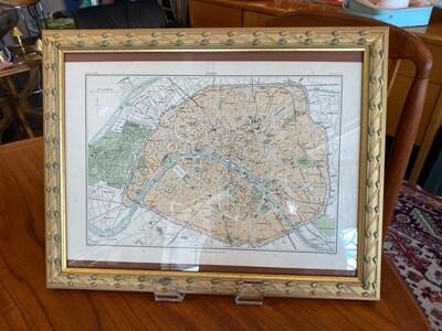 Vintage Framed Encyclopedia Britannica Original Map of Paris