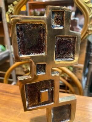 Mid Century Modern Brass Brutalist Bookend