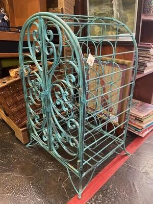 Vintage Iron Metal Wine Rack