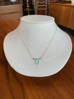 Handmade Chalcedony Aqua Marine Gold Filled Necklace