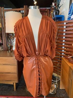 Modern Rust Faux & Chiffon Ruffle Dress