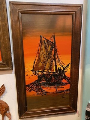 Mid Century Modern Signed Ship Painting #2