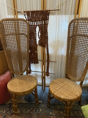 Vintage High Back Wicker Chair Set