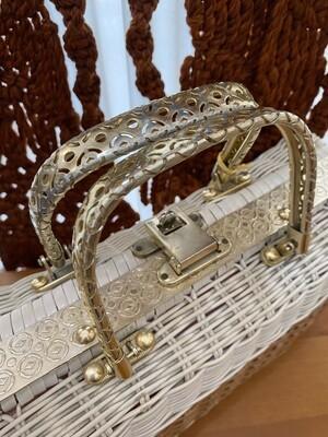 Vintage White & Gold Basket Purse