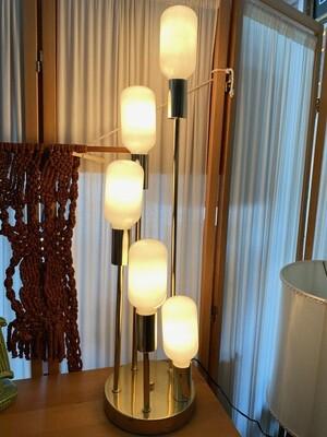 Mid Century Gold Chrome 5 Bulb Cascades Table Lamp
