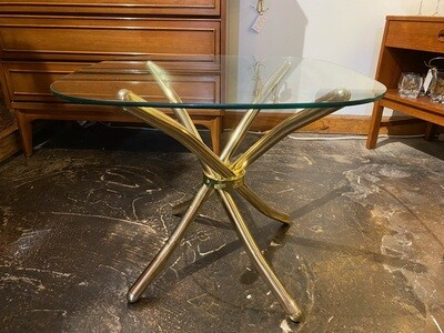 Mid Century Modern Gold Chrome Glass Top Side Table