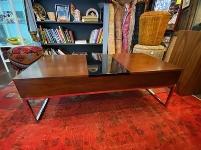 Modern Walnut & Chrome Coffee Table with Storage