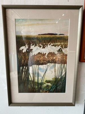 Vintage Framed & Matted Cranes Painting