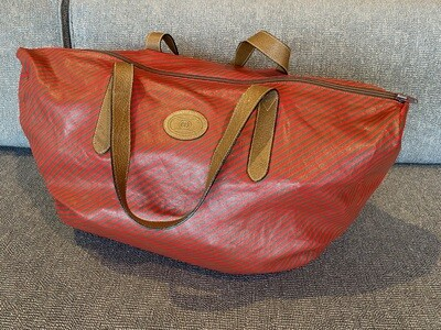 Vintage Gucci Striped Travel Duffle Bag with Matching Pouch