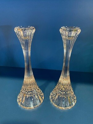 Vintage Set of Glass Candle Holders