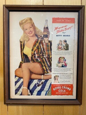 """Vintage Betty Grable in """"Pin-Up Girl"""" Royal Crown Cola Ad"""
