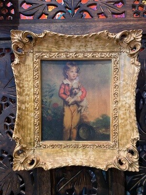 Vintage Reproduction Print of Child with Dog