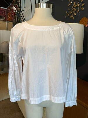 Modern White Cotton Long Sleeve Top