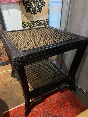 Vintage 1980's Black Rattan Side Table