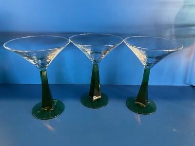 Green Stem Martini Glasses