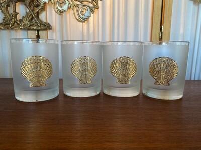 Vintage 22kt Culver Shell Lowball Glasses