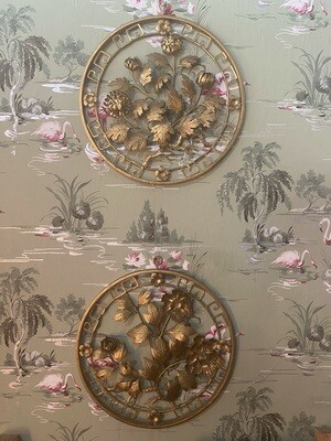 Vintage Brass Floral Wall Hangings