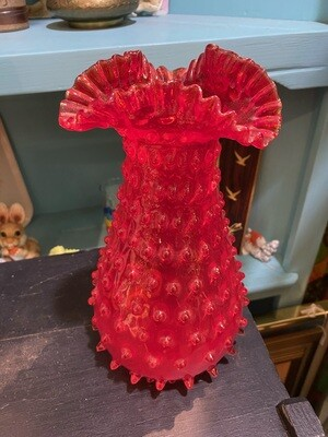 Vintage Red Hobnail Ruffle Vase