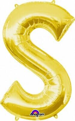 Super Shape Letter S Gold 34