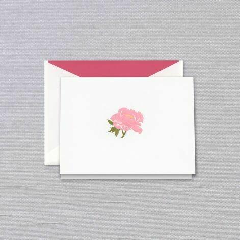 White Engraved Pink Peony Folded Note Set